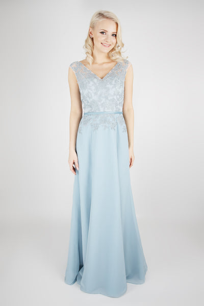 Lace bodice chiffon bridesmaids dress