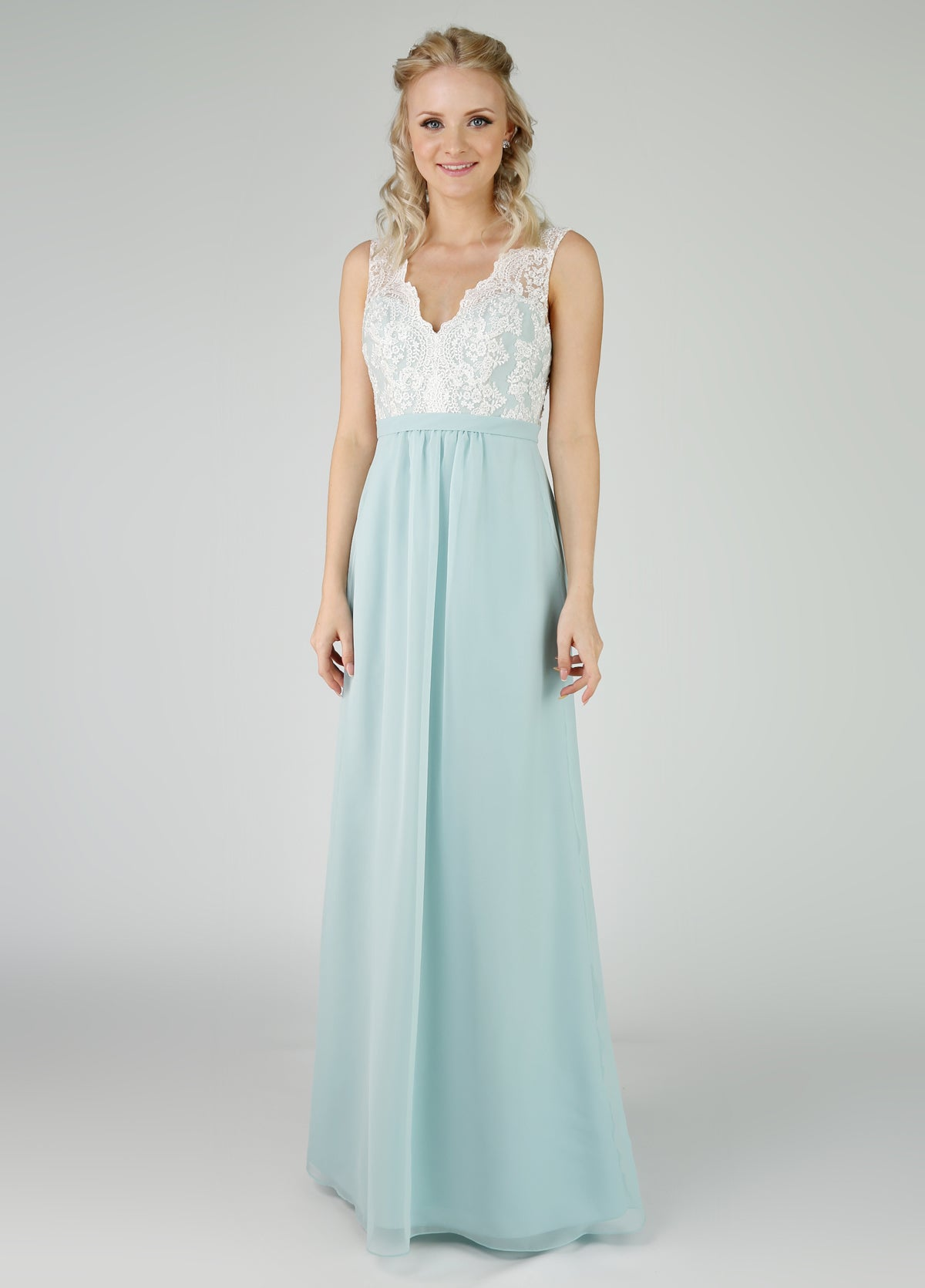 Bridesmaids dress with a lace bodice and chiffon skirt