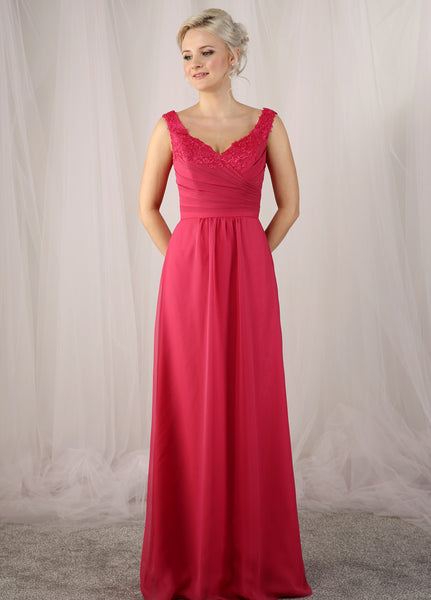 Chiffon bridesmaids dress with a pleated bodice