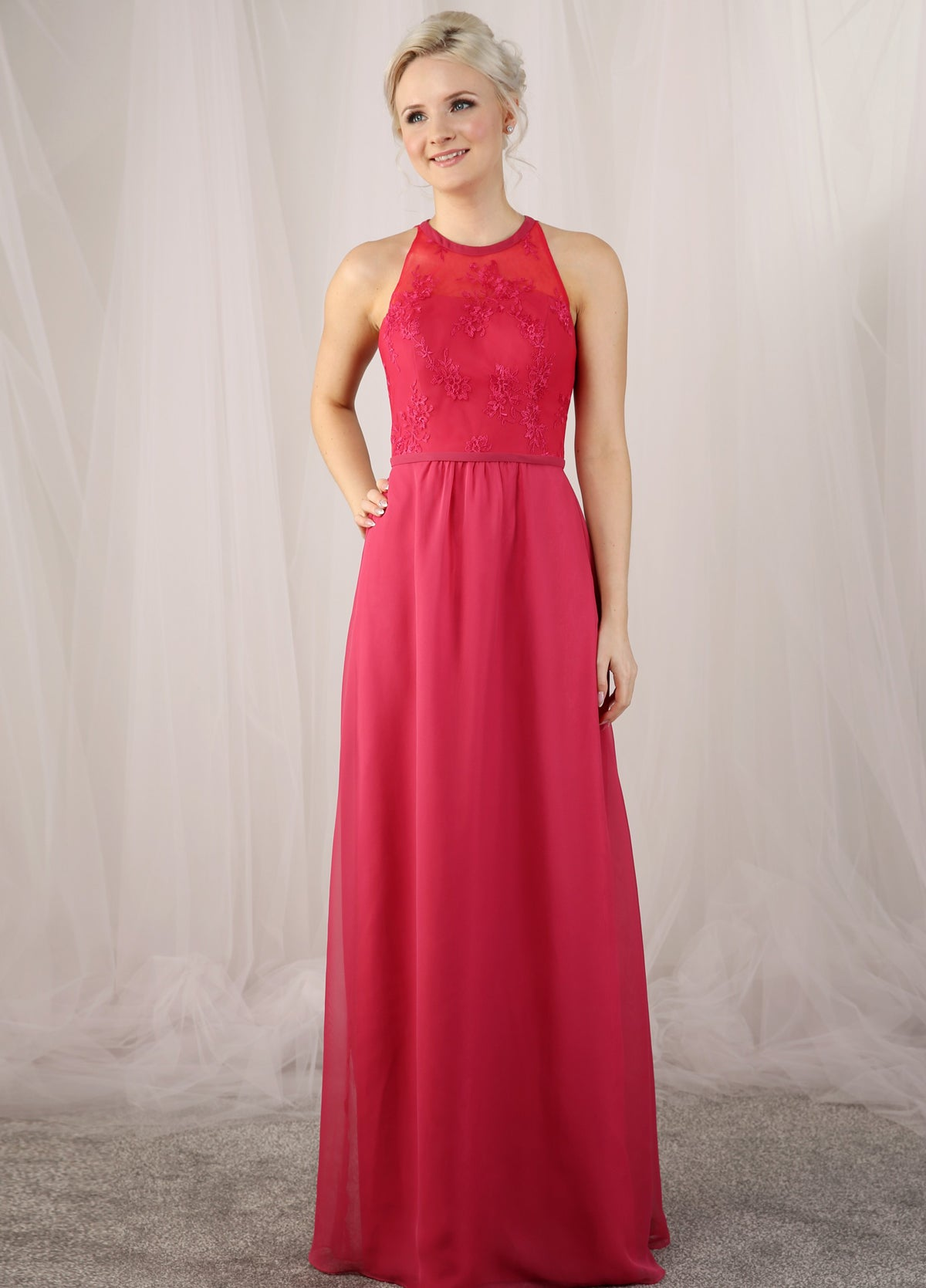 Chiffon bridesmaids dress with a lace bodice