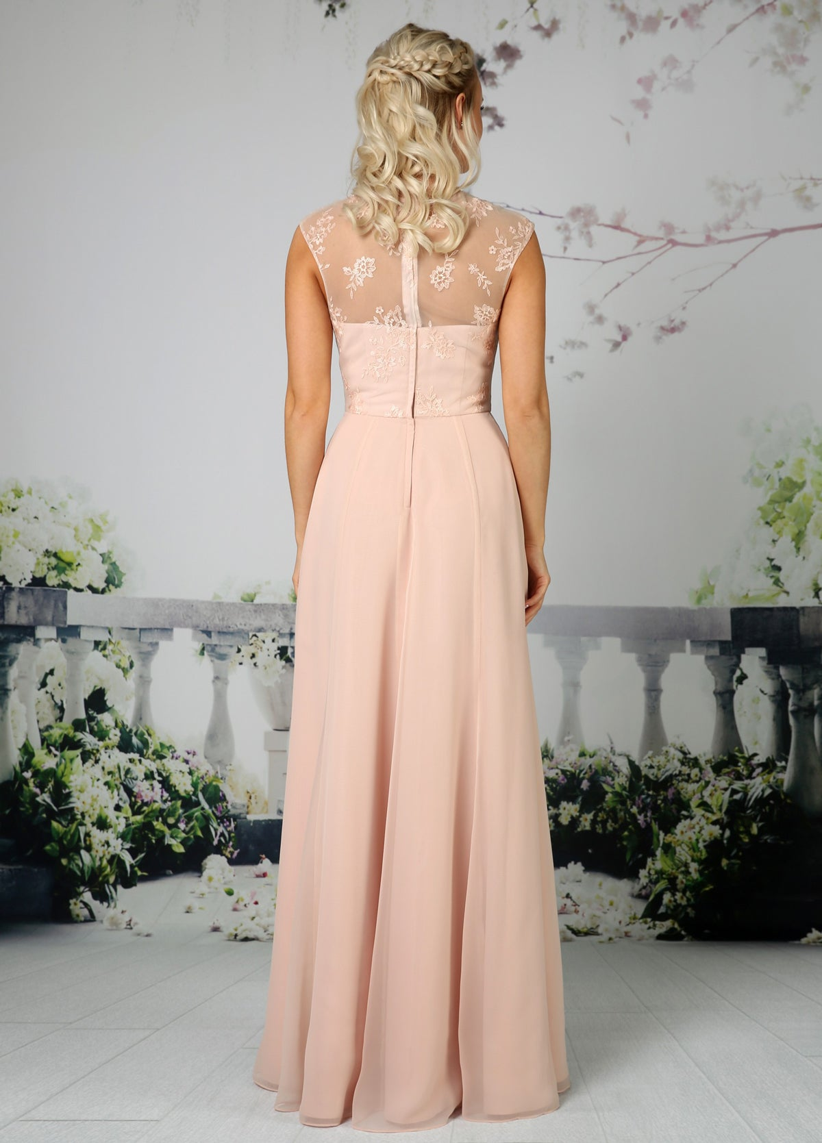 Full length A-Line chiffon bridesmaid dress