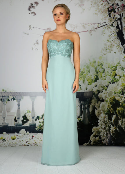 A feminine strapless chiffon bridesmaid dress with lace empire bodice