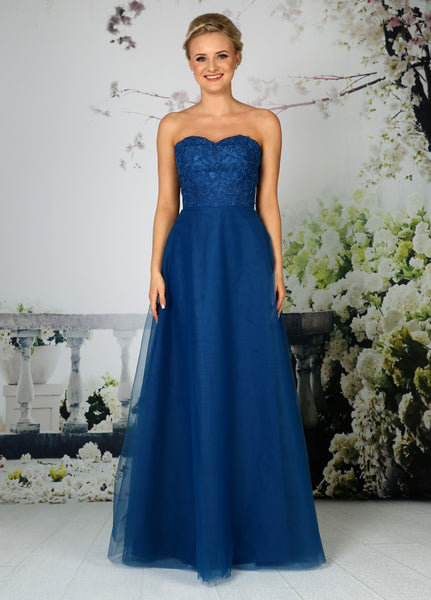 Strapless tulle bridesmaid dress