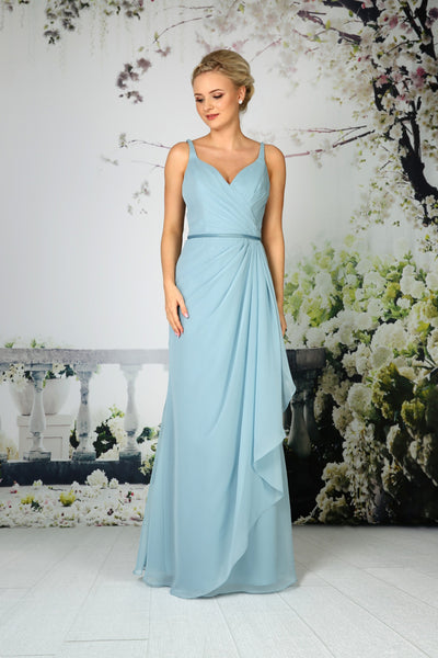 Chiffon gown with delicate asymmetrical front pleating from the Emma Bridals collection
