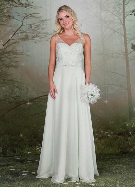 Elegant crossover lace bodice bridesmaids dress