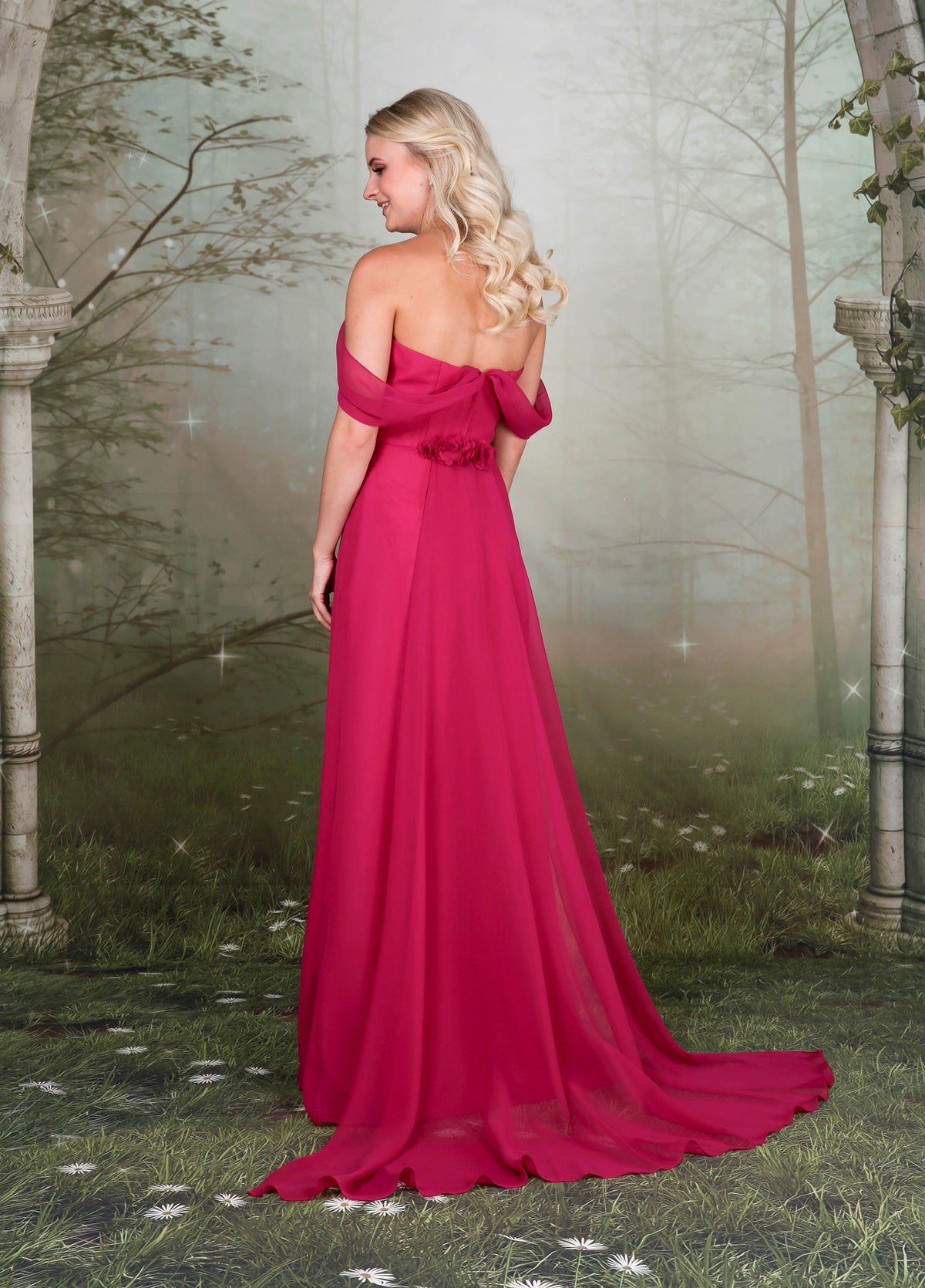 A ruched chiffon off-the-shoulder bridesmaid dress with full chiffon skirt