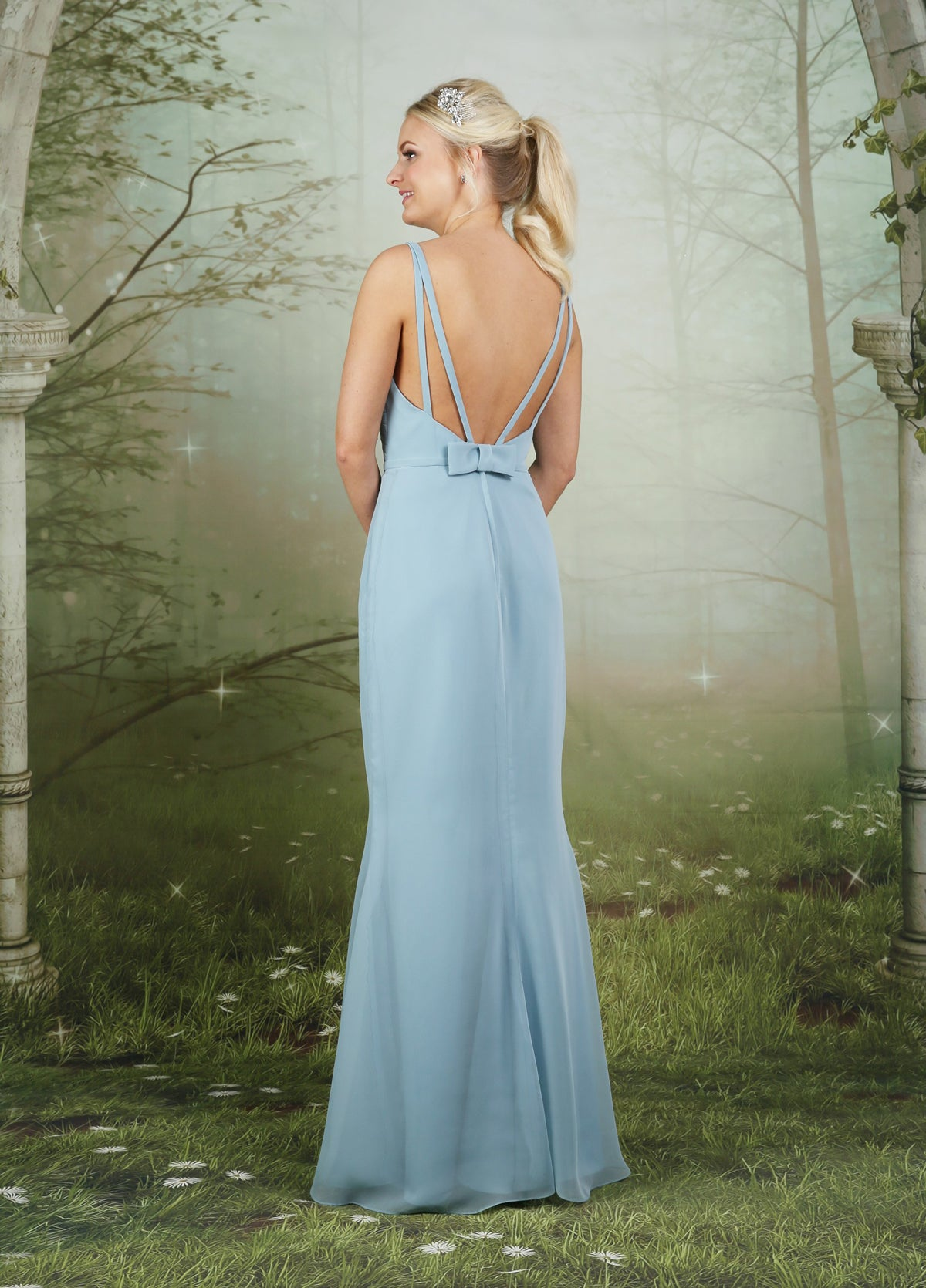 Chiffon bridesmaid dress with a pleated cross-over bodice