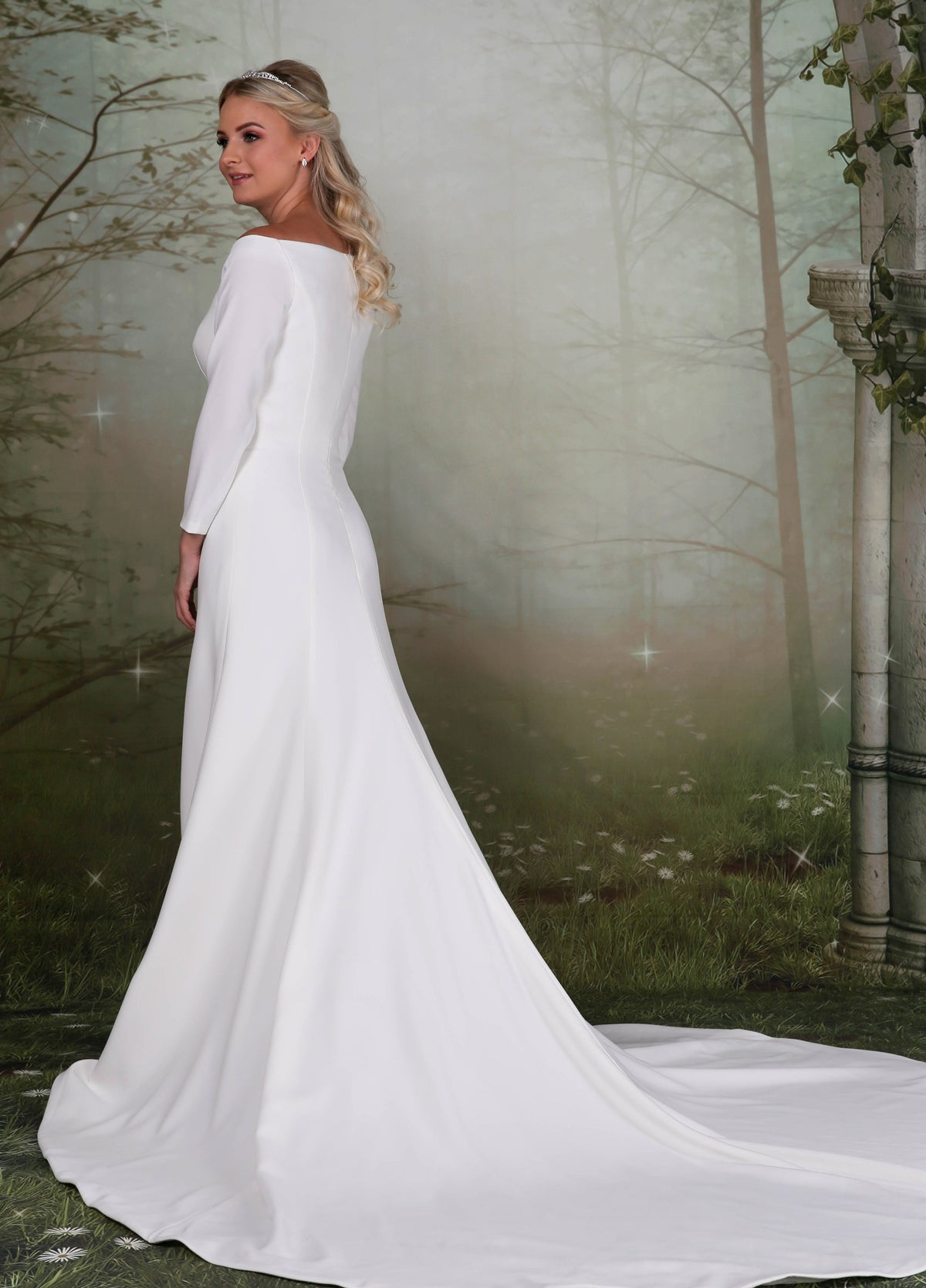 Meghan inspired fitted crepe wedding gown from the Emma Bridals collection