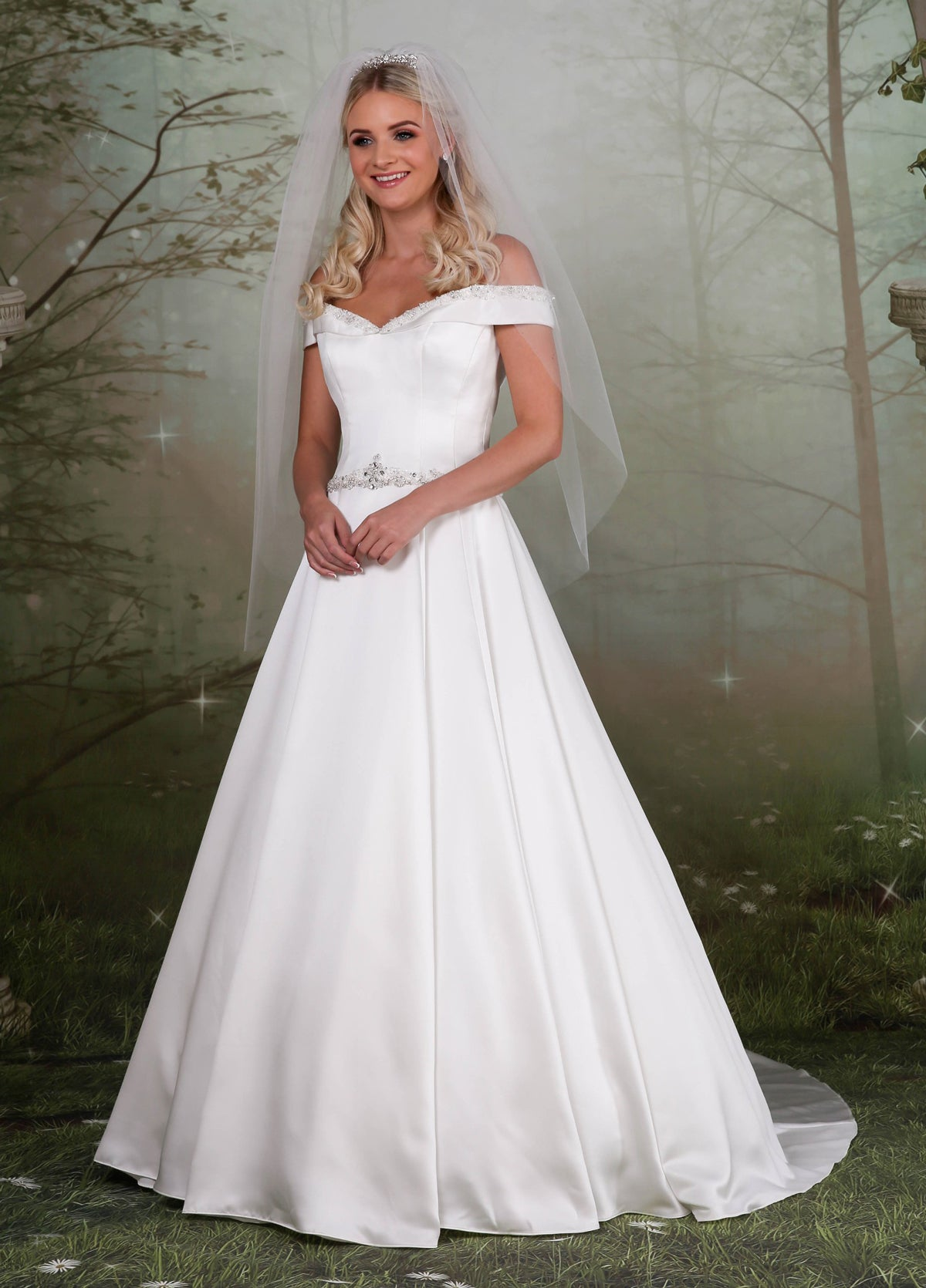 Beautiful soft satin A-line wedding dress from the Emma Bridals collection
