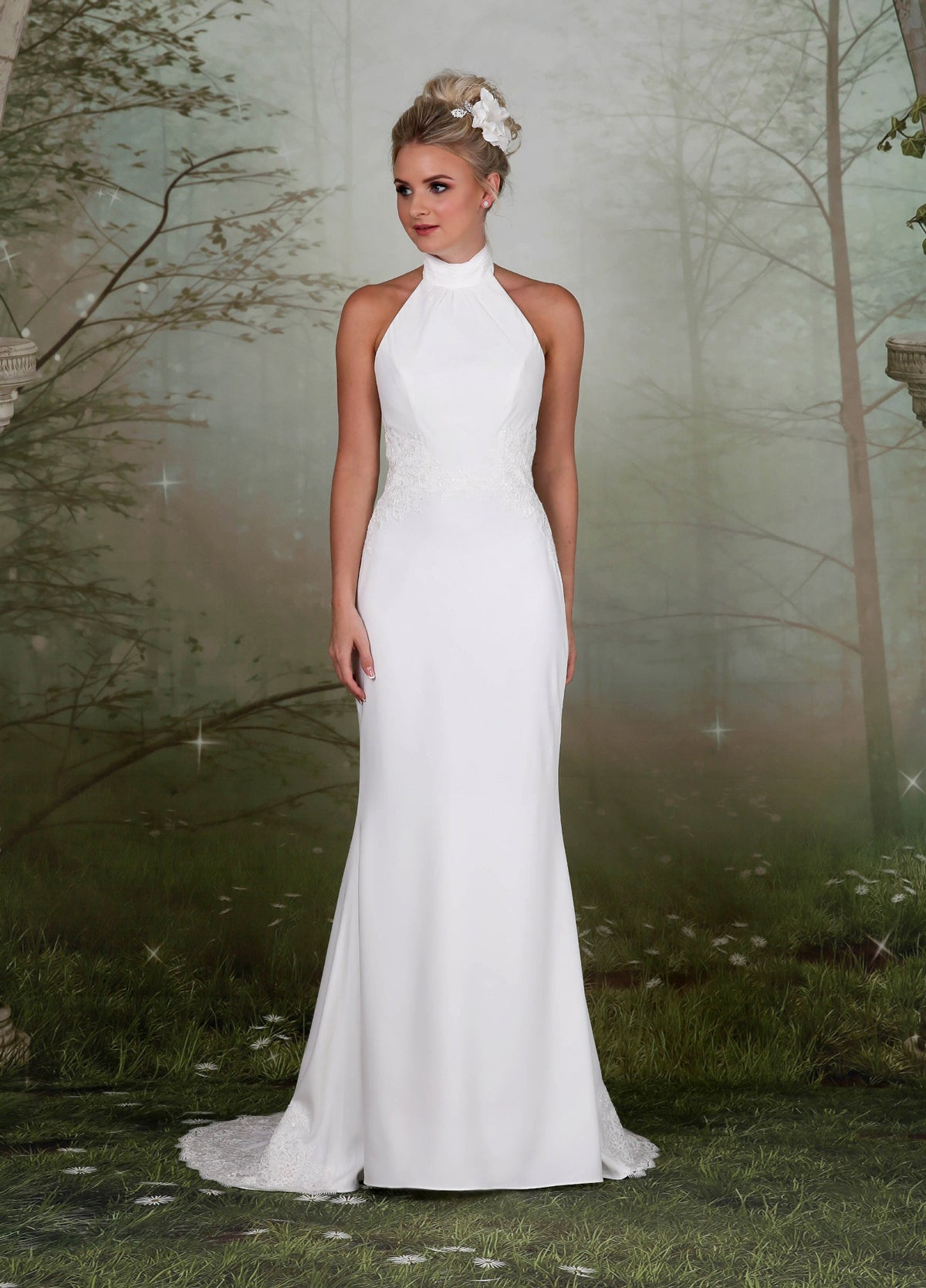 Soft high-necked gown from the Emma Bridals collection