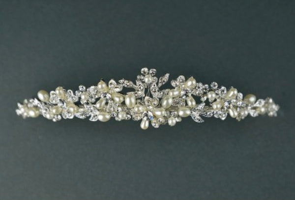 A pearl and diamanté tiara