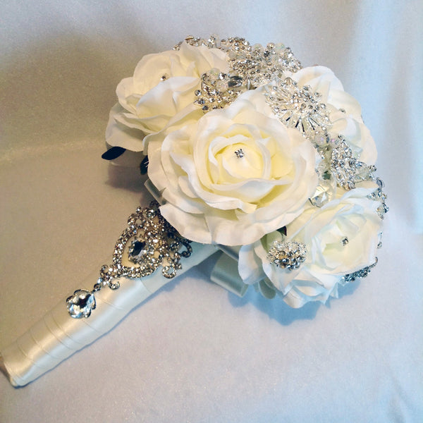 Bride's jewelled wedding bouquet