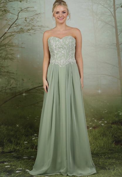 Strapless chiffon bridesmaids dress