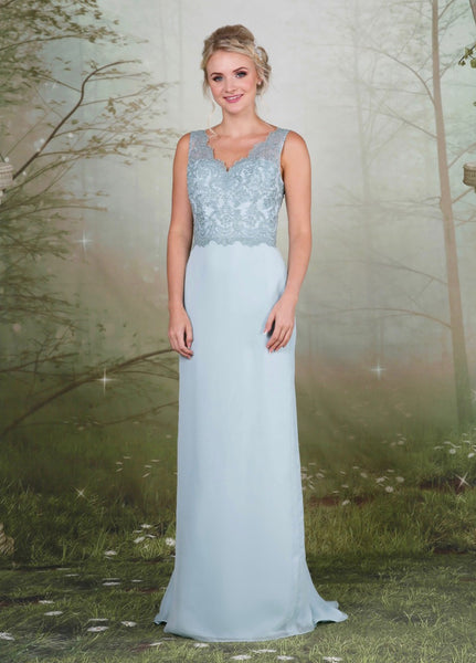 A pretty lace and chiffon bridesmaid dress