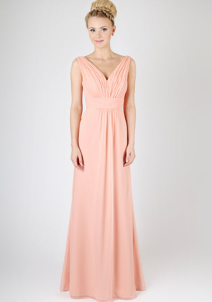 V-neckline bridesmaids dress with tapered shoulders and a deep V back