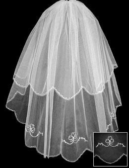 Two tier wedding veil with embroidered edge