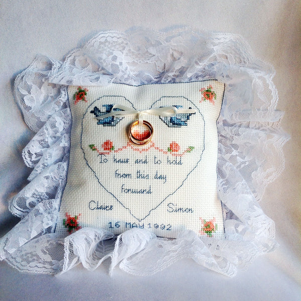 Lace edged ring cushion
