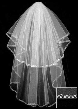 Tudor two tier wedding veil with embroidered edge