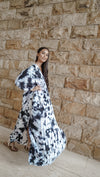 Leia Caftan Dress Tie Dye - Marble Black/White
