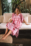 Leia Caftan Dress Tie Dye - Red Blush