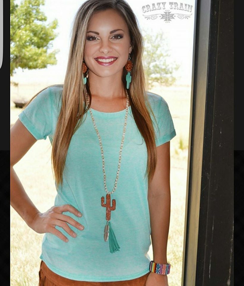 TURQUOISE COTTON CANDY CUFFED TEE
