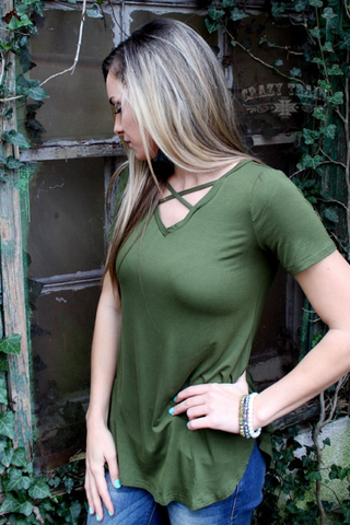 Cross Roads Top Olive