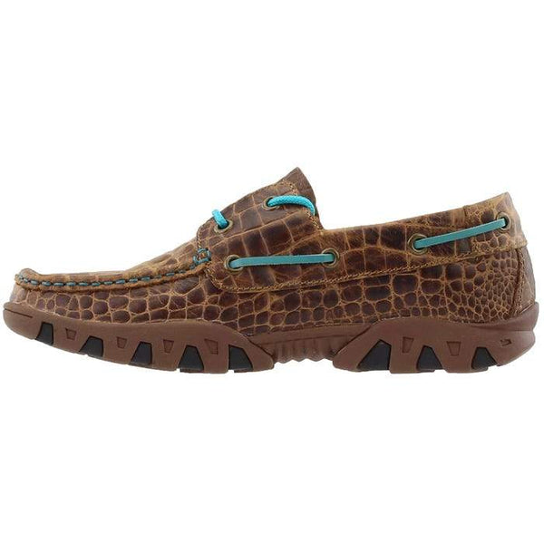 LADIES BROWN PRINT CROCODILE LOAFER