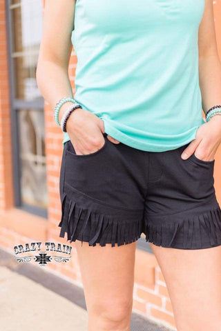 BLACK BETTY FRINGE SHORTS ** BLACK