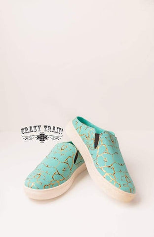 **PRE-ORDER** SALLY WALKER SLIP ON SHOES ** TURQ STONE