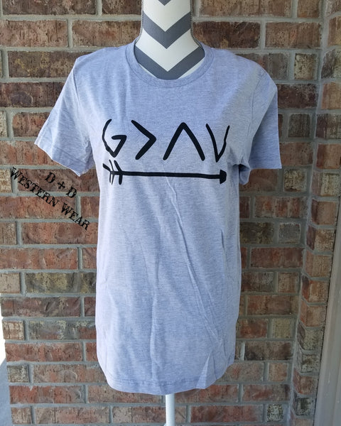 God is Greater than the Highs & Lows Crew Neck Short Sleeve Graphic Tee