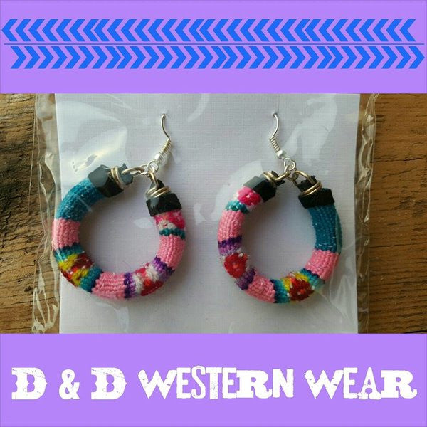 Serape Swank Hoop Earrings Pink/Blue