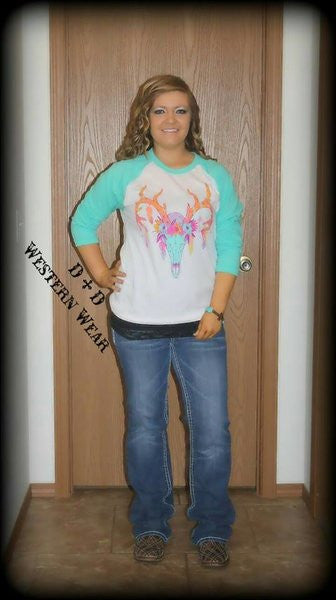 Feathers & Flower Buck Baseball Tee