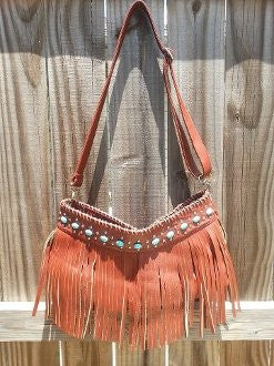 Brown Leather Fringe Handbag