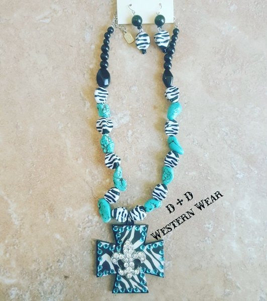 Turq Zebra Fleur De Lis Necklace w/Earrings