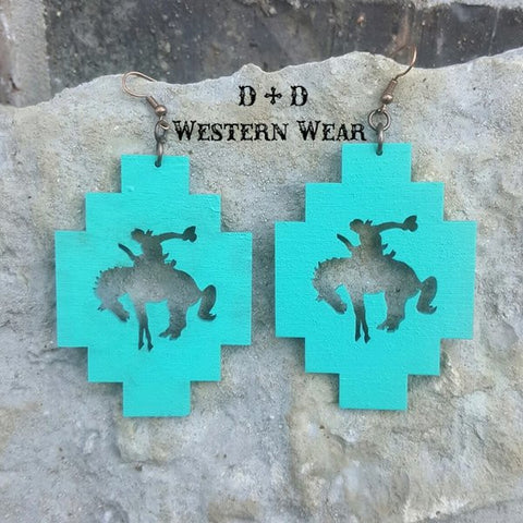 Buckin Bronc Turq Earrings