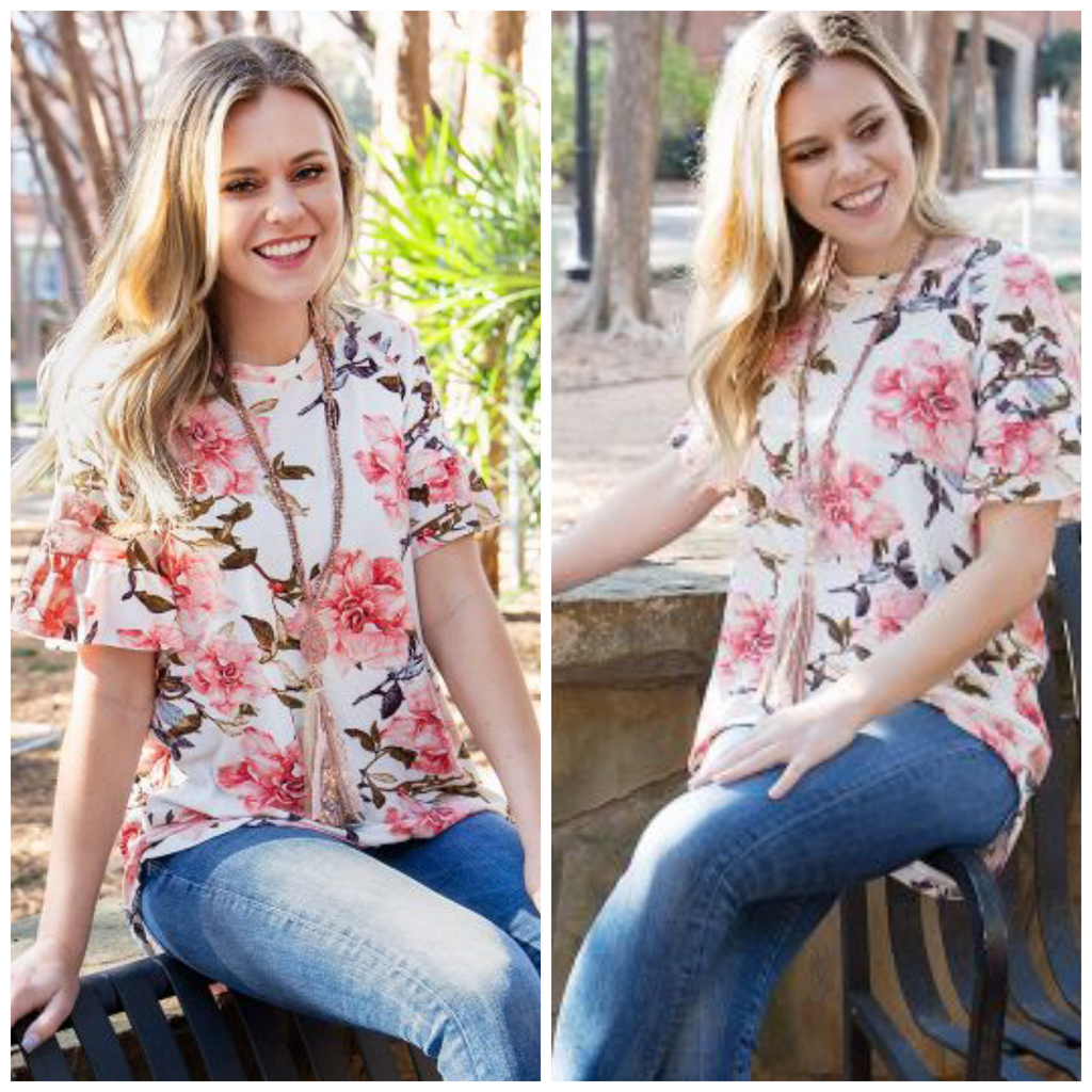 🌸🌺Springtime Romance Floral Blouse with Ruffle Sleeve