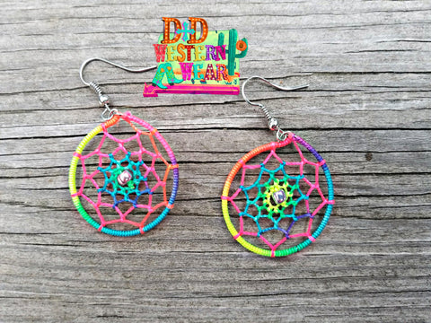 Neon Dreamcatcher Earrings