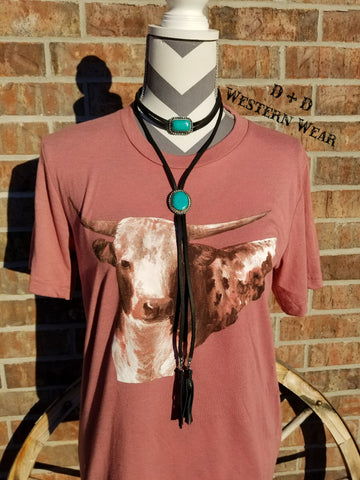 Leather Lady Concho Choker Black/Turq