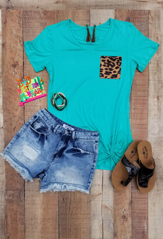 PARTY POCKET KNOT TOP ** TURQ W/ LEOPARD