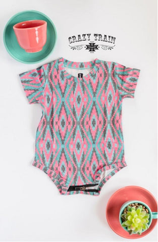 HOT HEAD ONESIE ** PINK/TURQ/BLACK