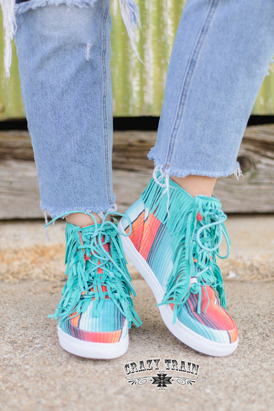 WALK THE LINE ** FRINGE SERAPE HIGH TOP SHOE