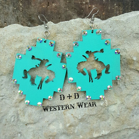 TURQ - Blingin' Bronc Earrings