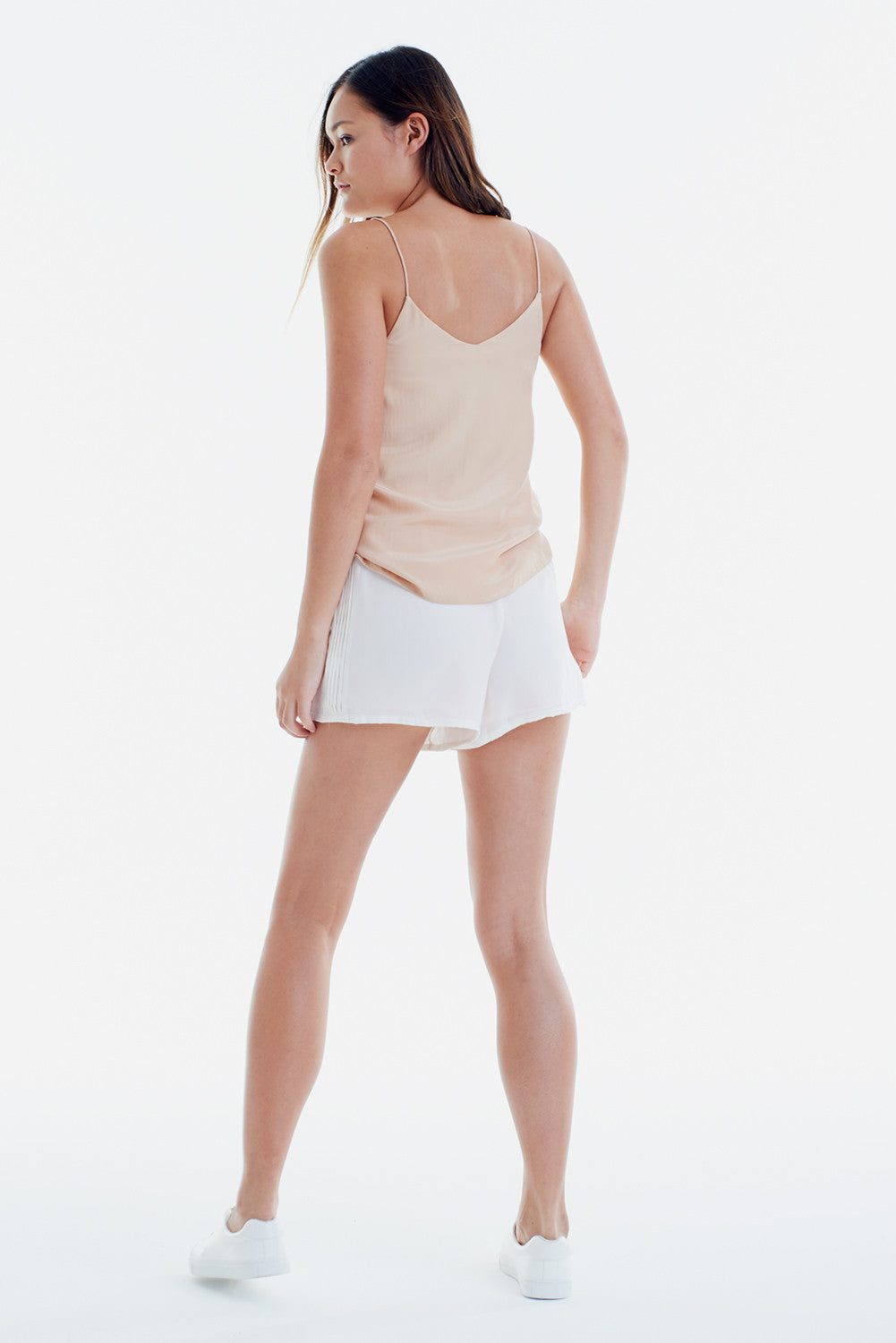 TWO PIECE SET: ARE YOU NUDE SLIP ON CAMISOLE + PEARL WHITE SILK SHORTS