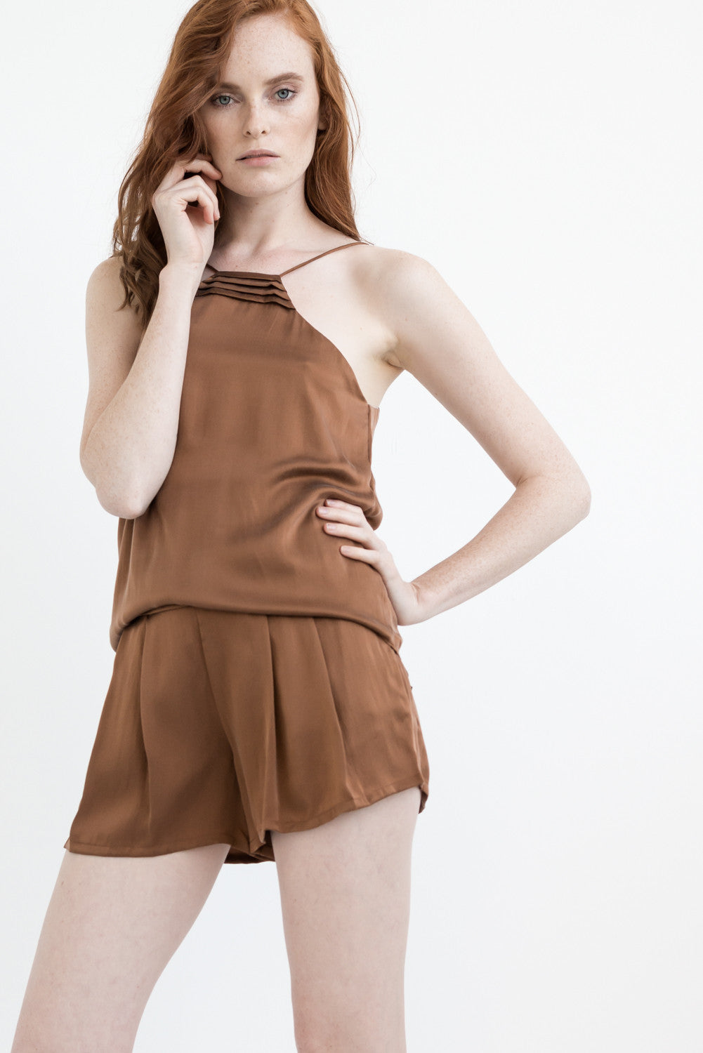TWO PIECE SET: BROWN LOVE 2 in 1 CAMISOLE
