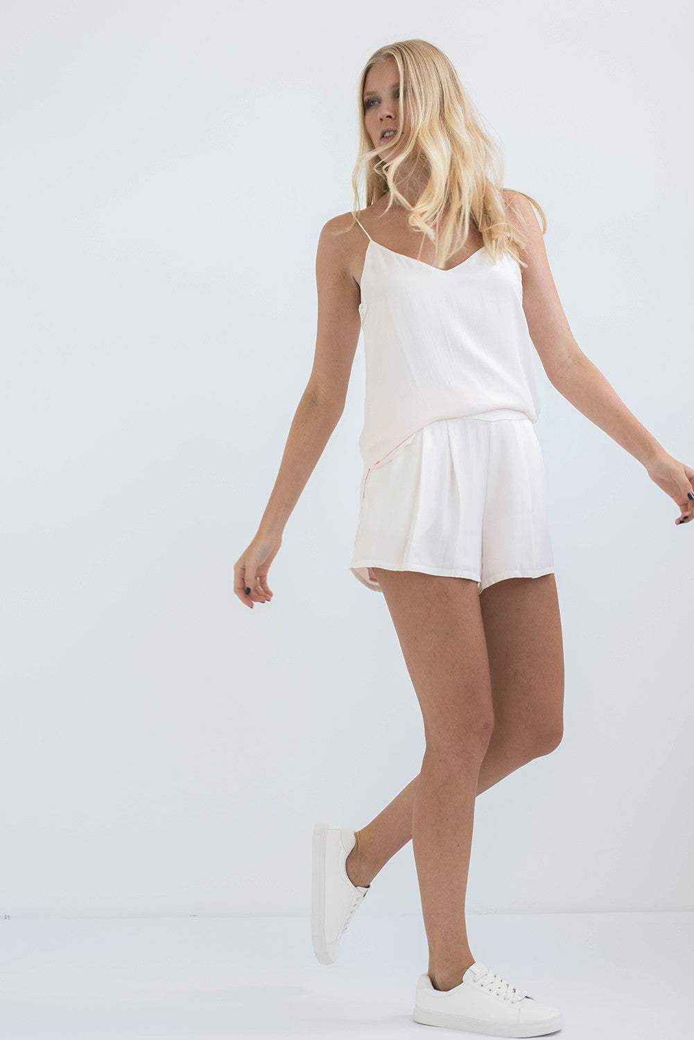 SILK SHORTS - PEARL WHITE