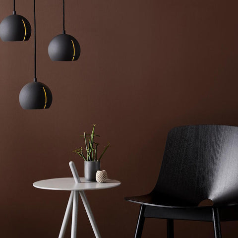 Capricho, Gap Round Pendant Lights, styled with table & chair, WOUD Design