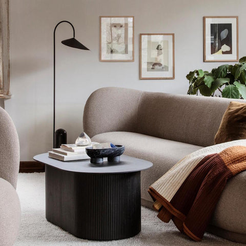 Capricho, Podia Table styled with Alza Bowl and Rico Chair and Sofa, ferm LIVING
