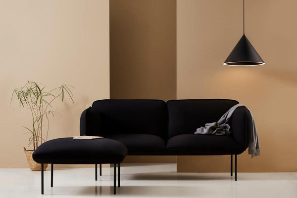 Capricho, Annular Pendant Light in Black styled with Nakki Sofa and Ottoman, WOUD Design