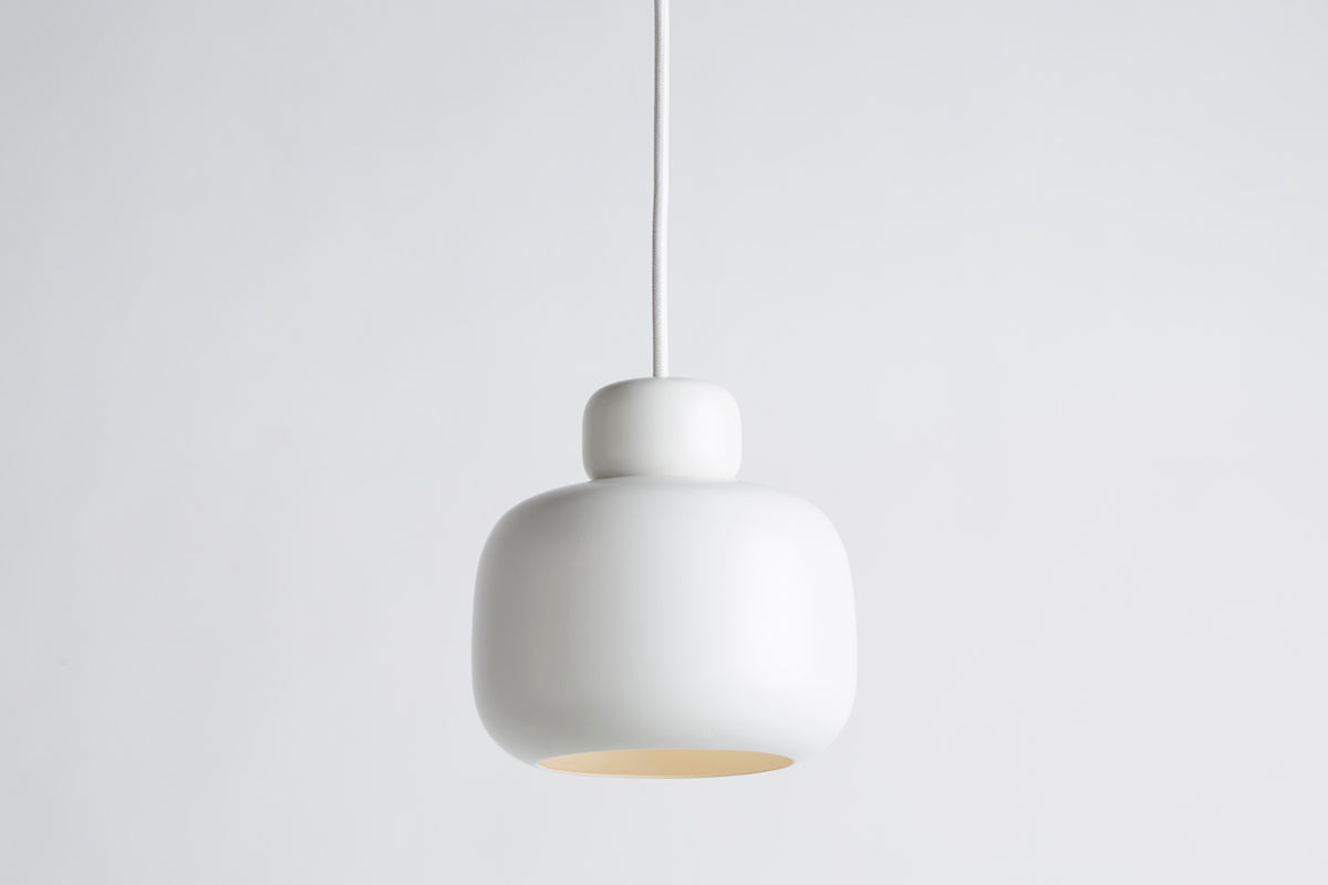 Capricho, Stone Pendant Light Small, White, WOUD