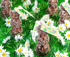 Scene of Easter Bunny Button-its shapes filled with chocolate buttons
